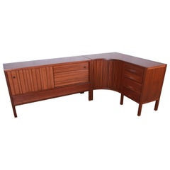 Outstanding Edward Wormley for Dunbar Curved Two-Piece Corner Credenza, 1950s