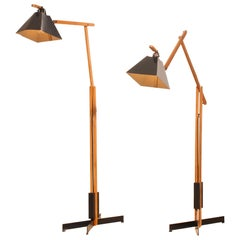 1950s, Pair of Very Rare Teak and Metal Floor Lamps by Luxus