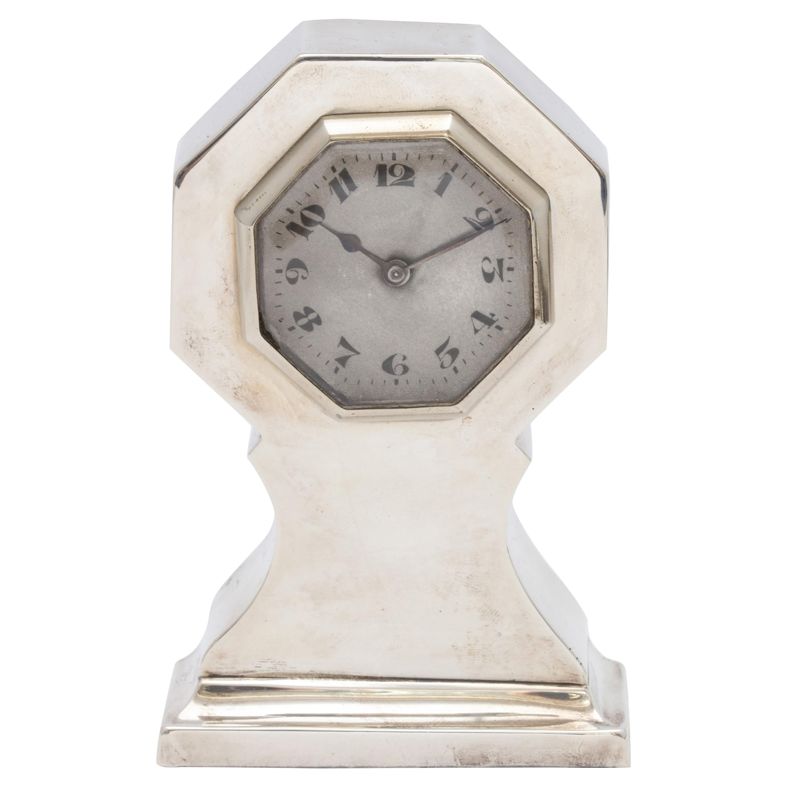 Art Deco Sterling Silver Table Clock