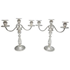 Pair of Empire Style Sterling Silver Candelabra