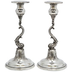 Pair of Art Nouveau Sterling Silver Dolphin-Form Candlesticks by Spaulding