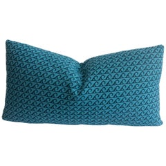 Indoor/Outdoor Lumbar Pillow with Blue Wave Pattern