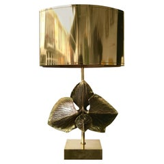 Bronze Orchid Lamp by Maison Charles, France, 1970s