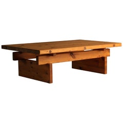 Roland Wilhelmsson, Minimalist Modern Coffee Table, Solid Pine, 1960s, Sweden