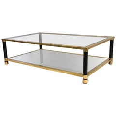 Large French Mid-Century Modern Double Level Brass Coffee Table, Maison Charles