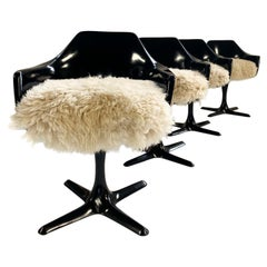 Burke Inc Tulip Style Armchairs with Custom California Sheepskin Cushions, Set