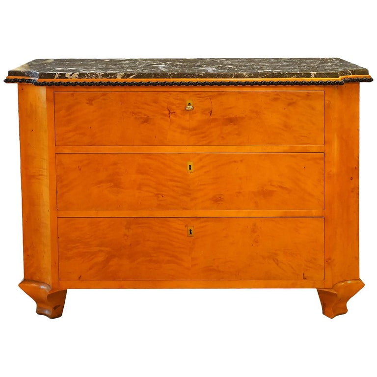 Late 19th Century Austrian Biedermeier Style Marble-Top Chest of Drawers For Sale