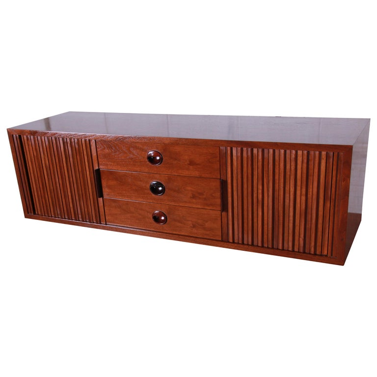 Edward Wormley for Dunbar Tambour Door Walnut Floating Wall-Hanging Credenza For Sale