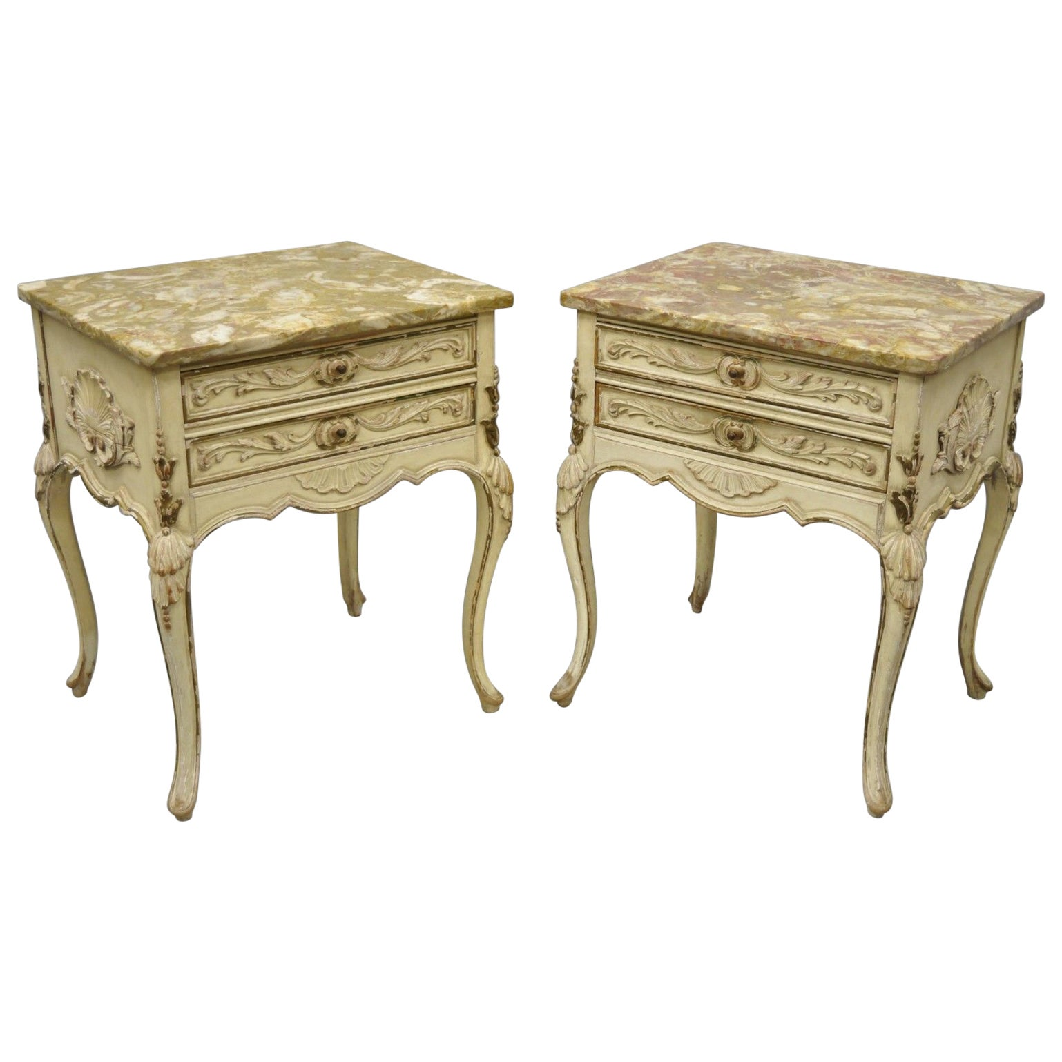 Pair of Distress Painted Louis XV Marble-Top Nightstands or End Tables by Danby