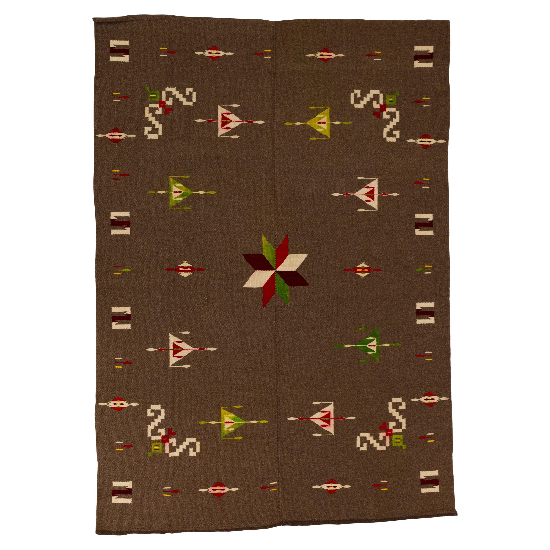 Antique Mexican Star Wool Serape Blanket