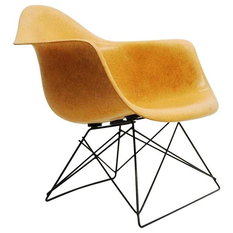 Ochre Eames Armshell on Cats Cradle Base For Sale