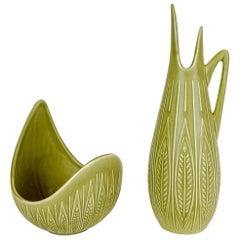 Rialto Ceramic Bowl and Vase by Gunnar Nylund for Rörstrand