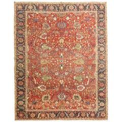 Rare Jewel Toned Persian Heriz Serapi Rug