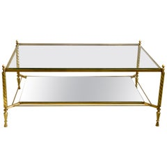 French Midcentury Brass Coffee Table Attributed to Gilbert Poillerat