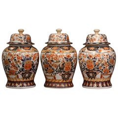 Set of Three Early 20th Century, Chinese Export Porcelain Ginger Jars with Lids