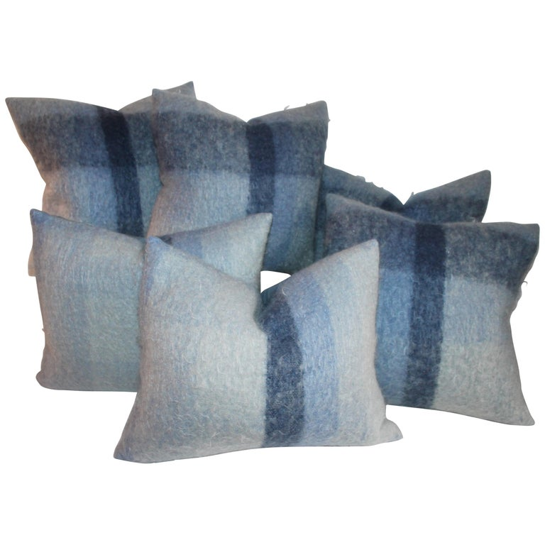 Mohair Pillows in Blues from Vintage Blanket, Pair For Sale