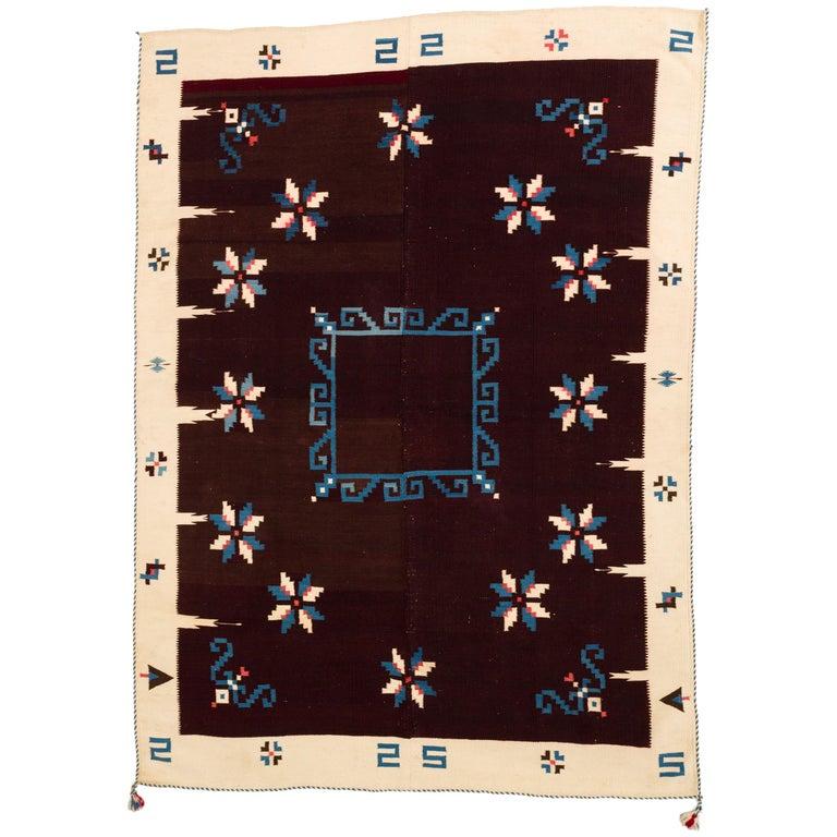 Texcoco Indigo Star Mexican Serape Wool Blanket For Sale