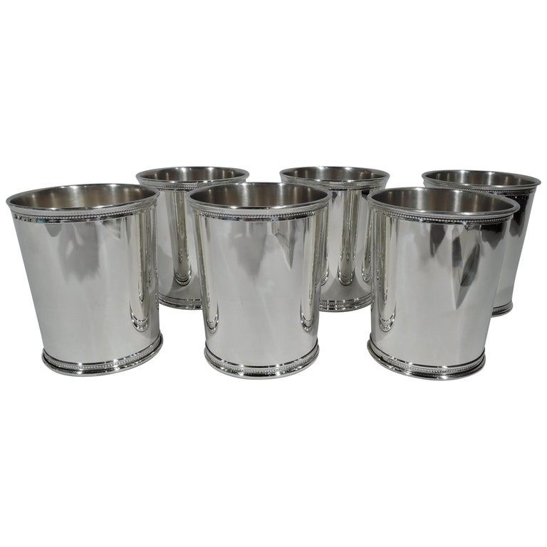 Set of 6 Reed & Barton Sterling Silver Mint Julep Cups from Carter Era For Sale