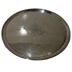 18th Century Antique George III Sterling Silver Salver London, 1788 John Hutson
