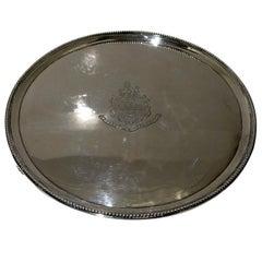 18th Century Antique George III Sterling Silver Salver London, 1788 John Hutson