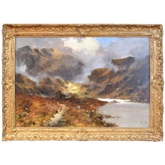 Signed J. Maurice Oil Painting of Welsh Highlands with Original Frame circa 1890
