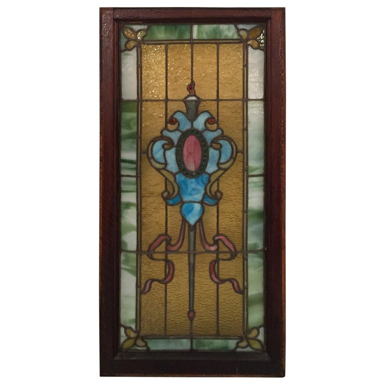Stained Glass Window, circa 1880 For Sale