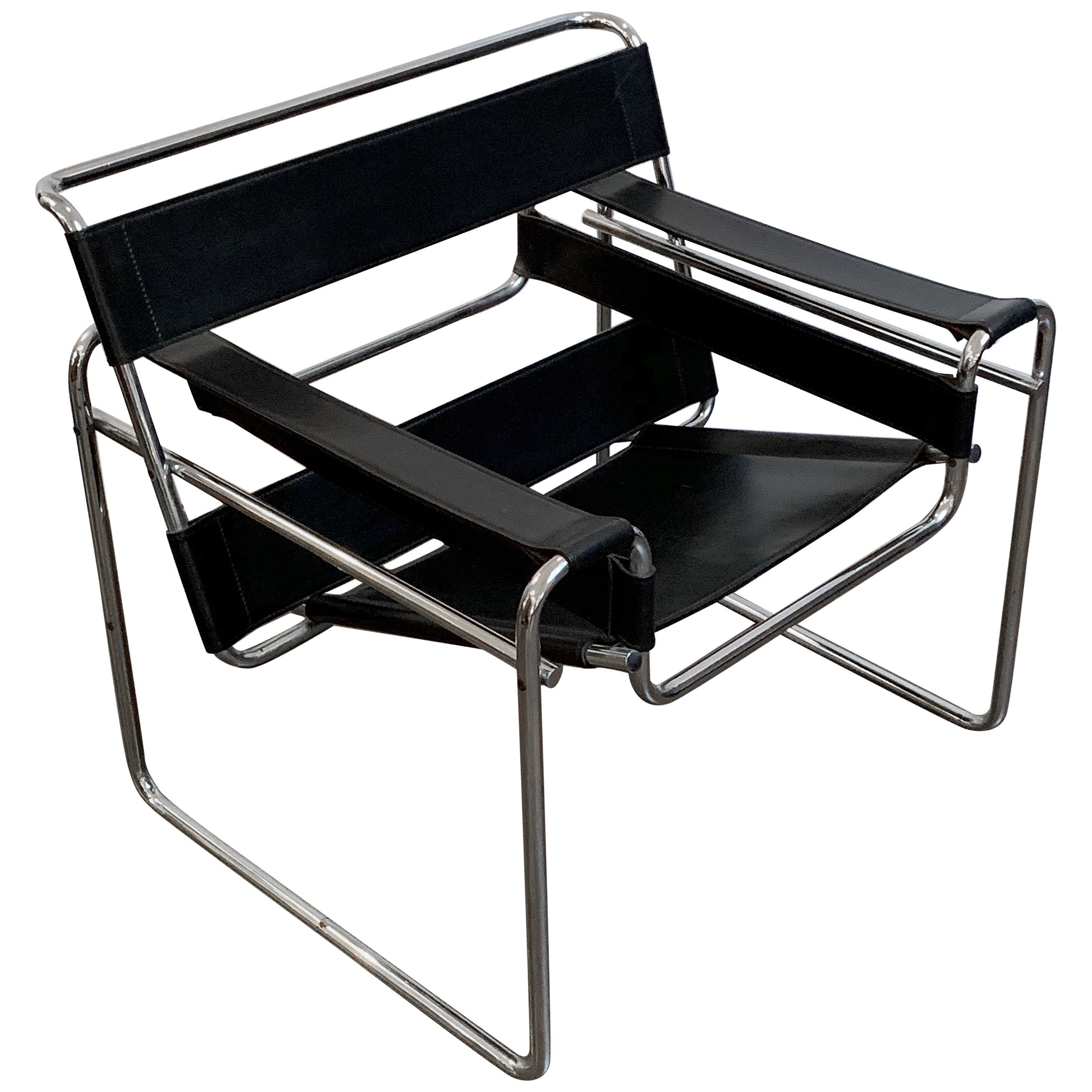 Wassily Style Leather Chair in the Manner of Marcel Breuer