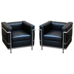 Le Corbusier Style Black Leather and Chrome Chairs