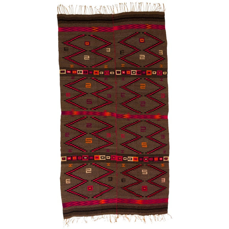 Mixtec Mexican Colorful Serape Blanket For Sale