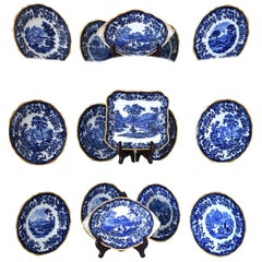 Set of 15 Cobalt Blue & Gold Luncheon & Serving Dishes, Copeland Spode, c. 1900