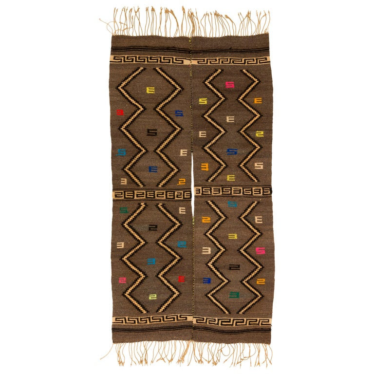 Mixtec Cloud and Thunder Symbol Serape Blanket Oaxaca Mexico For Sale