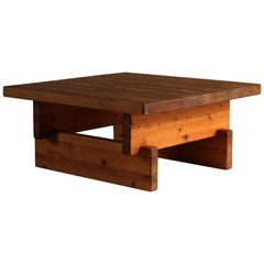 Roland Wilhelmsson Modernist Coffee Table, Solid Pine, 1960s, Sweden