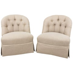 Pair of Tufted Linen Slipper Chairs