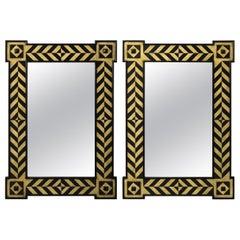 Pair of Modern Rectangular Chevron Design Mirrors