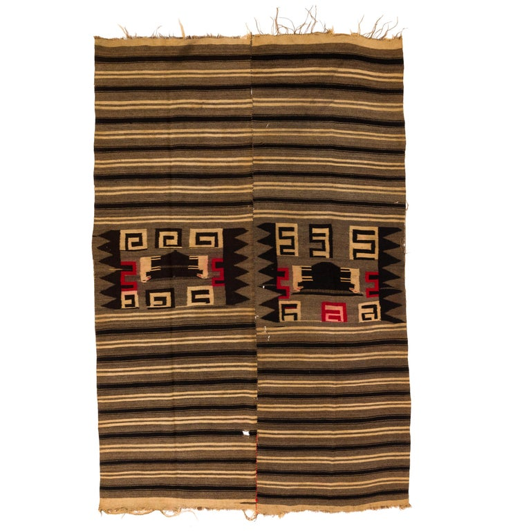 Antique Mixtec Highlands Mexican Wool Serape Blanket For Sale