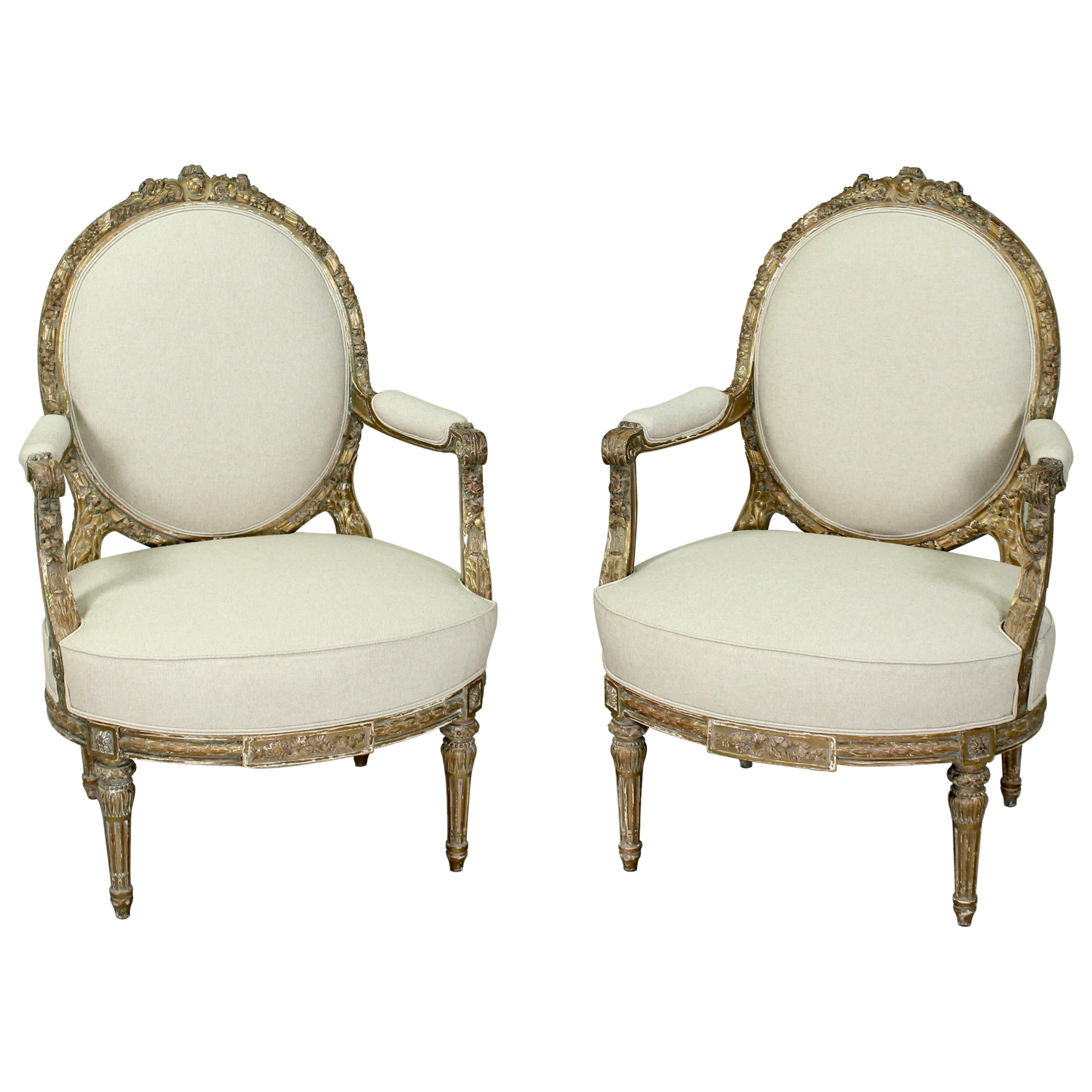 French Louis XVI Giltwood Chairs, a Pair