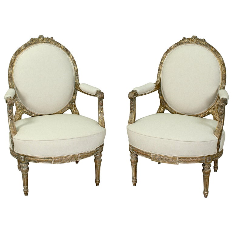 French Louis XVI Giltwood Chairs, a Pair For Sale