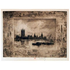 Felix-Hilaire Buhot Etching, Westminster Palace, 1884
