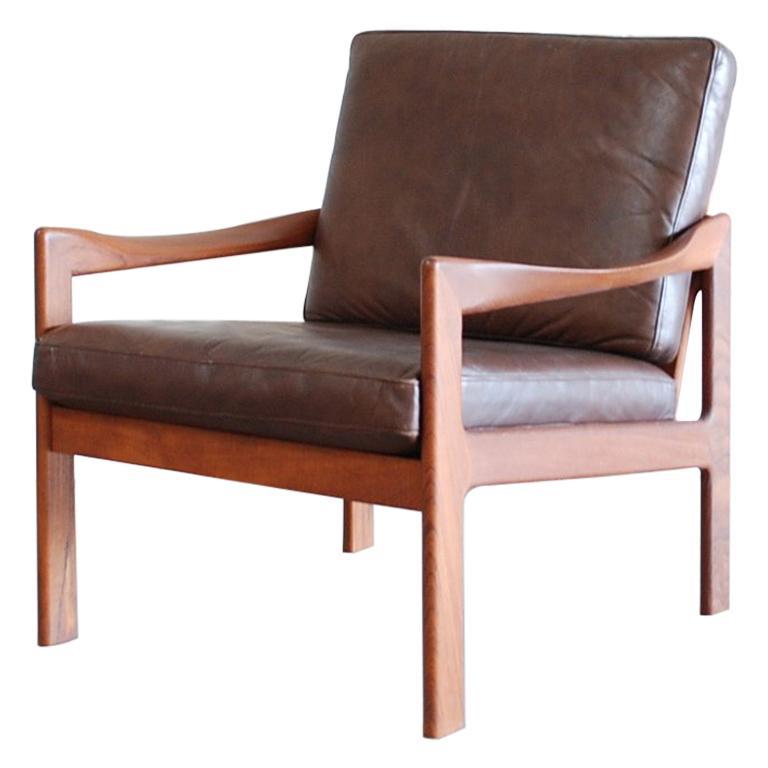 Illum Wikkelsø Leather Armchair Chair Brown Niels Eilersen