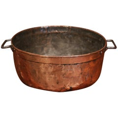 Mid-19th Century French Copper Jelly and Jam Boiling Bowl with Handles