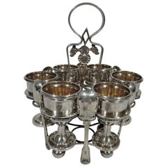 Antique Chinese Silver Egg Stand with 6 Cups and Spoons by Khecheong