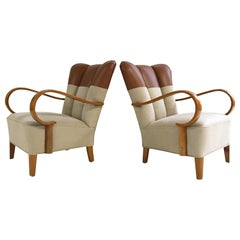 1970s, Italian Bentwood Armchairs Restored in Loro Piana Leather and Linen