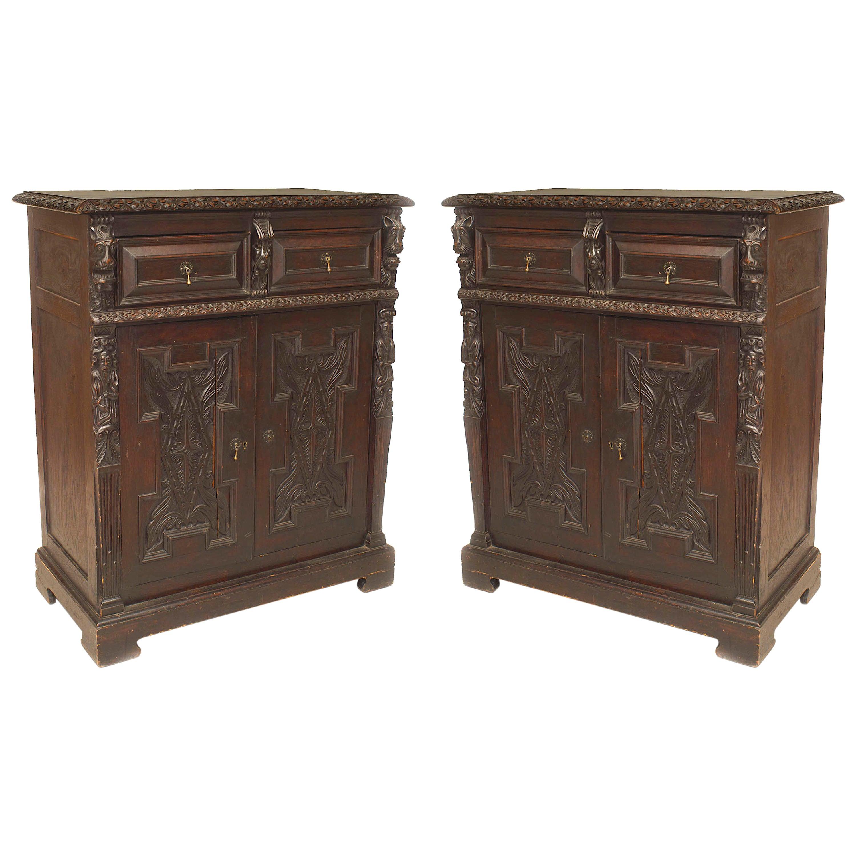 Pair of English Renaissance Style Oak Sideboard Cabinets