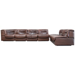 De Sede 6x Modul Vintage Leather Sofa Brown