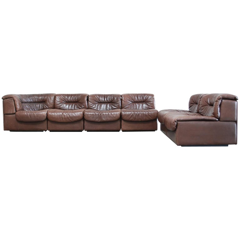 De Sede DS- 14 6x Modul Vintage Leather Sofa Brown