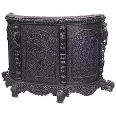 "Asian Burmese Style Carved and Filigree ""D"" Shaped Sideboard"