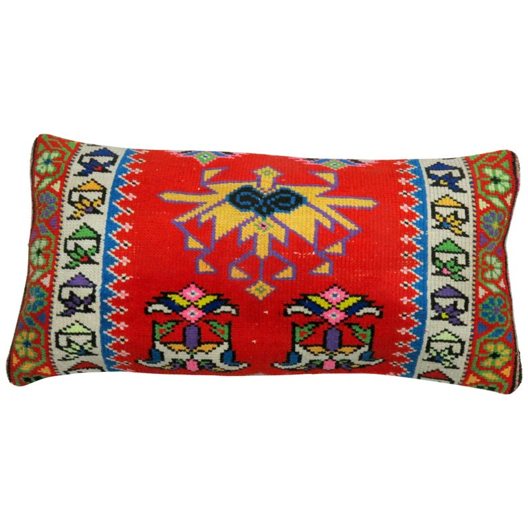 Vibrant Red and Blue Large Vintage Turkish Bolster Size Rug Pillow For Sale