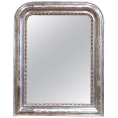 19th Century French Louis Philippe Silver Mirror with Engraved Floral Decor