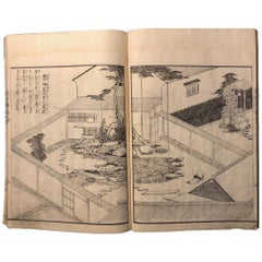 Famous Kyoto Gardens Complete Japanese Antique Woodblock Guide Book 19th Century