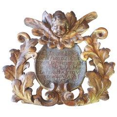 Antique Gilded Cherub Cartouche Fragment with Script
